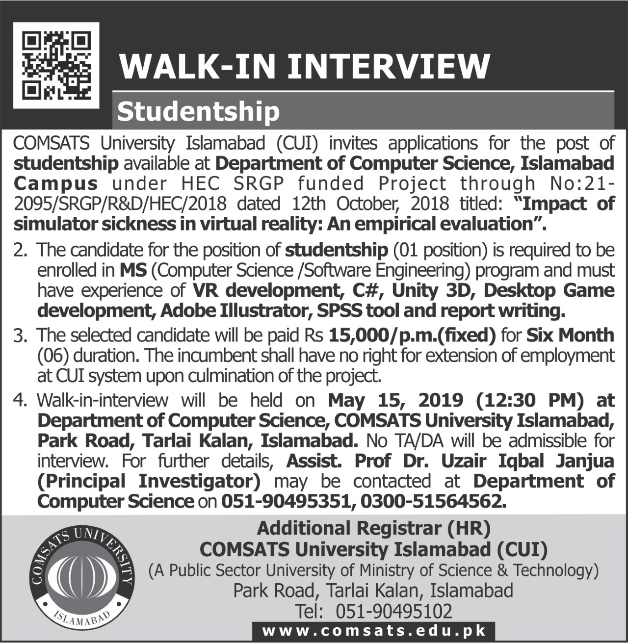 Walk-in-Interview(DrUzair-Iqbal) Job Application Form Comsats on free fillable, big lots printable, blank generic, part time, red robin, home depot, printable practice, free sample,